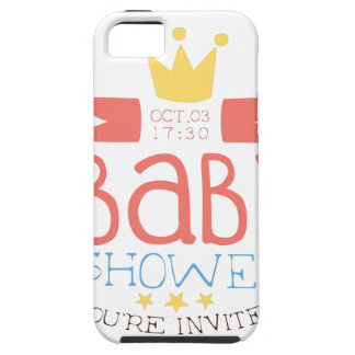 Baby Shower Invitation Design Template With Crown iPhone 5 Cases