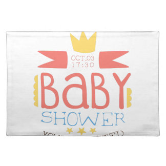 Baby Shower Invitation Design Template With Crown Placemat