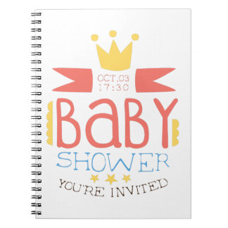 Baby Shower Invitation Design Template With Crown Spiral Notebook