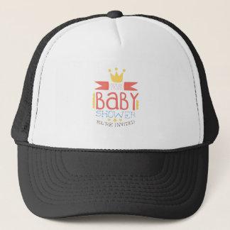 Baby Shower Invitation Design Template With Crown Trucker Hat
