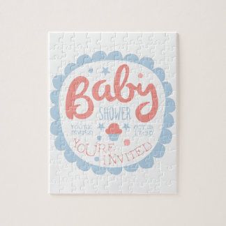 Baby Shower Invitation Design Template With Cupcak Jigsaw Puzzle