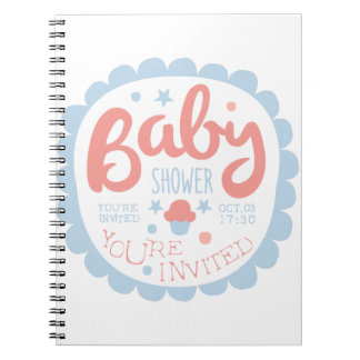 Baby Shower Invitation Design Template With Cupcak Notebooks