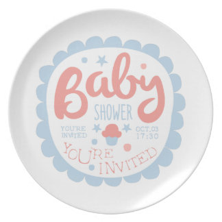 Baby Shower Invitation Design Template With Cupcak Plate