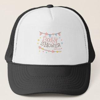 Baby Shower Invitation Design Template With Garlan Trucker Hat
