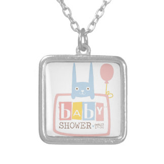 Baby Shower Invitation Design Template With Rabbit Silver Plated Necklace