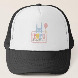 Baby Shower Invitation Design Template With Rabbit Trucker Hat
