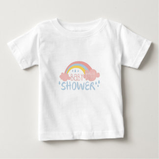 Baby Shower Invitation Design Template With Rainbo Baby T-Shirt