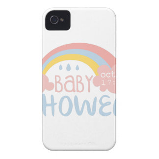 Baby Shower Invitation Design Template With Rainbo iPhone 4 Case-Mate Cases