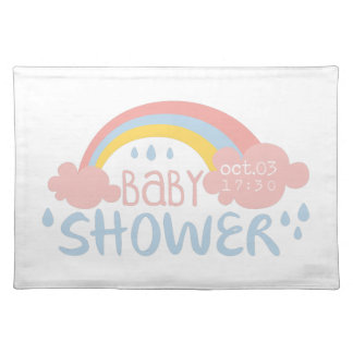 Baby Shower Invitation Design Template With Rainbo Placemat