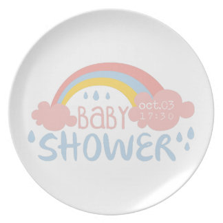 Baby Shower Invitation Design Template With Rainbo Plate