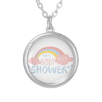 Baby Shower Invitation Design Template With Rainbo Silver Plated Necklace