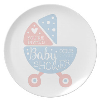 Baby Shower Invitation Design Template With Stroll Plate