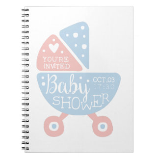 Baby Shower Invitation Design Template With Stroll Spiral Notebook