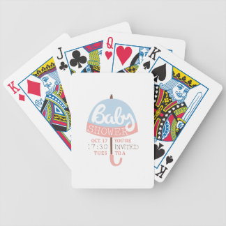 Baby Shower Invitation Design Template With Umbrel Bicycle Playing Cards
