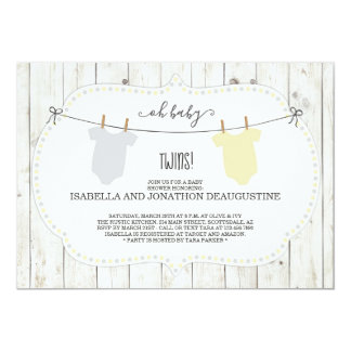 Baby Shower Invitation for Twins - Gender Neutral
