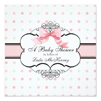 Baby Shower Invitation - French Bow Dot Swirl
