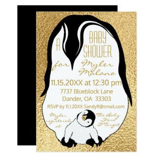 Baby Shower Invitation Gold Baby & Mummy Penguins