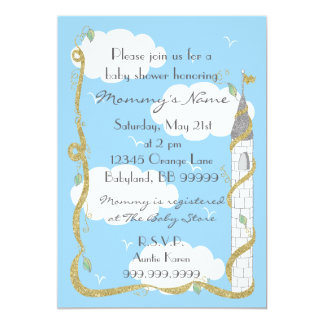 Baby Shower Invitation. Gold/Silver Castle Card