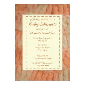 "Baby Shower Invitation - Handmade Peach Blanket 5"" X 7"" Invitation Card"