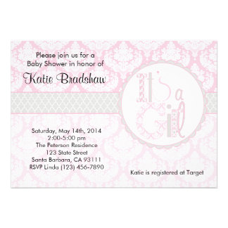 Baby Shower Invitation It s a Girl Pink Damask