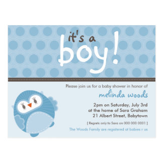 BABY SHOWER INVITATION :: it's a boy owl 7 Postcard