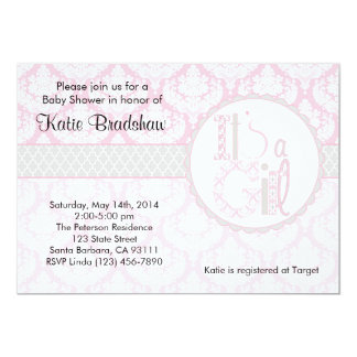 """Baby Shower Invitation """"It's a Girl!""""  Pink Damask"""