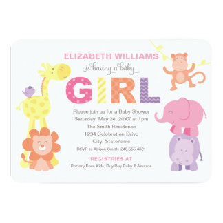 "Baby Shower Invitation | Jungle Animals for Girl 5"" X 7"" Invitation Card"