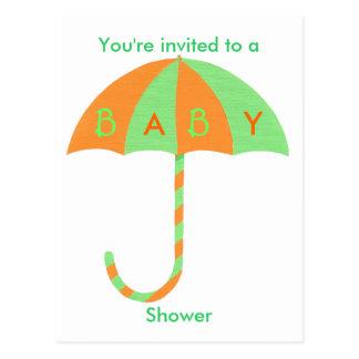 Baby Shower invitation, orange green umbrella Post Card