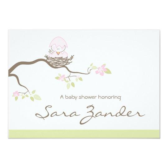 Baby Shower Invitation - Pink  Baby Bird