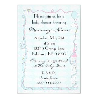 Baby Shower Invitation. Pink/Blue/Castle 13 Cm X 18 Cm Invitation Card