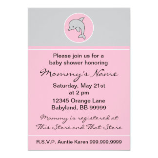 "Baby Shower Invitation. Pink Dolphin. 5"" x 7"" Card"