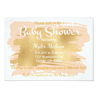 Baby Shower Invitation Pink/Gold