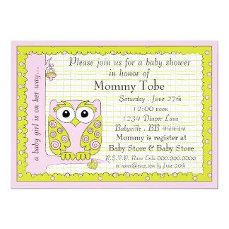 Baby Shower Invitation Pink Green Owl