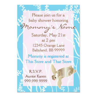 Baby Shower Invitation Pink/Turquoise Turtle
