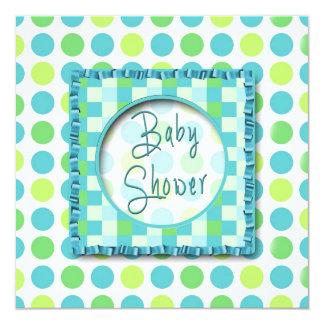 BABY SHOWER INVITATION - POLKA DOTS Greens & Blue