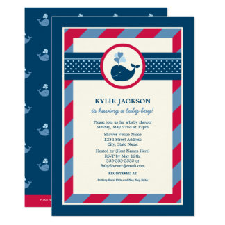 Baby Shower Invitation | Preppy Whale Pattern