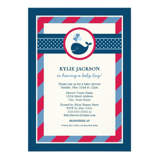 Baby Shower Invitation | Preppy Whale Pattern Personalized Invitation