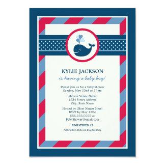 Baby Shower Invitation | Preppy Whale Pattern Personalized Invitation