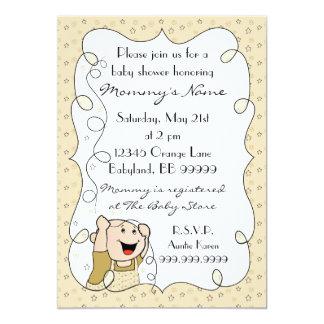 Baby Shower Invitation. Stars/Baby/Gold/Black 13 Cm X 18 Cm Invitation Card