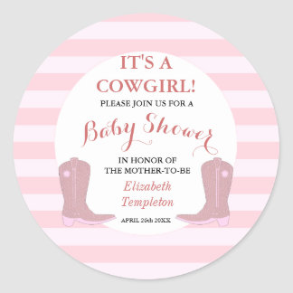 Baby Shower Invitation Stickers It's a Cowgirl