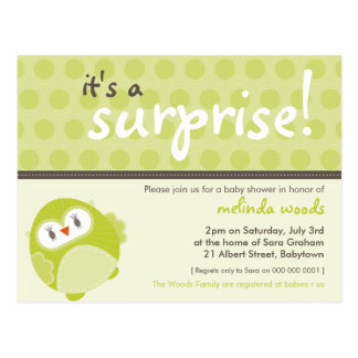 BABY SHOWER INVITATION :: surprise owl 2 Postcard