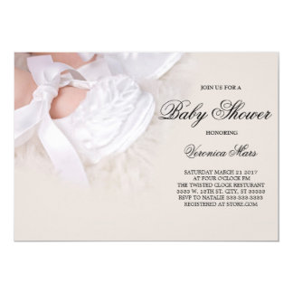 Baby Shower invitation, White baby shoes Card