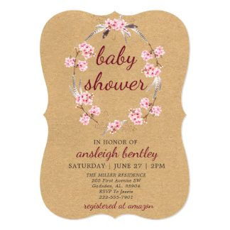 Baby Shower Invitation with Cherry Blossom Wreath
