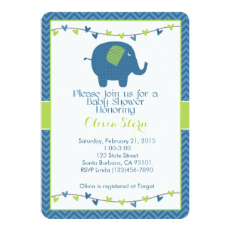 Baby Shower Invitation with Elephant in Blue