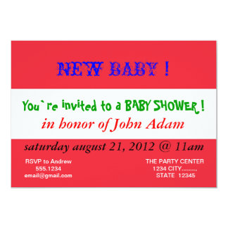 Baby Shower Invitation with Flag of Austria