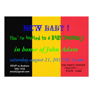 Baby Shower Invitation with Flag of Belgium