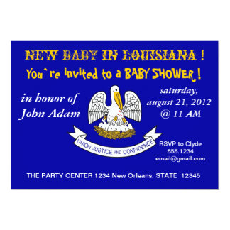 Baby Shower Invitation with Flag of Louisiana