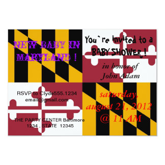 Baby Shower Invitation with Flag of Maryland
