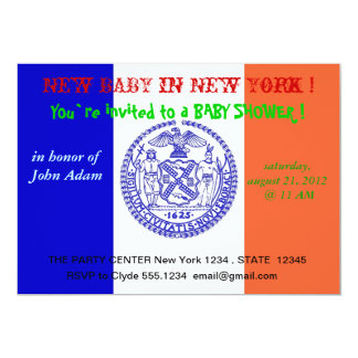 Baby Shower Invitation with Flag of New York
