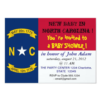 Baby Shower Invitation with Flag of North Carolina